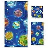 Vnurnrn Planetas De La Tierra Azul De Dibujos Animados Juego de Toallas para Baño Playa Toalla (1 Toalla de Baño y 1 Toalla...