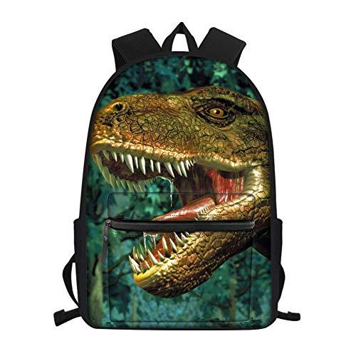 Mochila para niños de dinosaurio para estudiantes de secundaria media, bolsa de escuela primaria de 15,6 pulgadas, portátil de viaje, bolsas verde