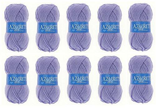 les colis noirs lcn Lot 10 Pelotes de Laine Azurite 100% Acrylique Tricot Crochet Tricoter - Lavande - 706
