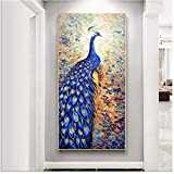 """Animal Art Peacock Wall Pictures para la sala de estar Lucky Bird Style Carteles e impresiones Modern Art 7.9 """"x 23.6' (20x60cm) Con marco"""