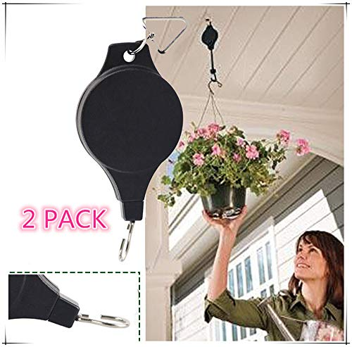 2 Pack Plant Pulley, Retractable Heavy Duty Easy Reach Pulley Plant Hanging Flower Basket Hook Hanger for Garden Baskets Pots & Birds Feeder Hang High up and Pull Down to Water Or Feed