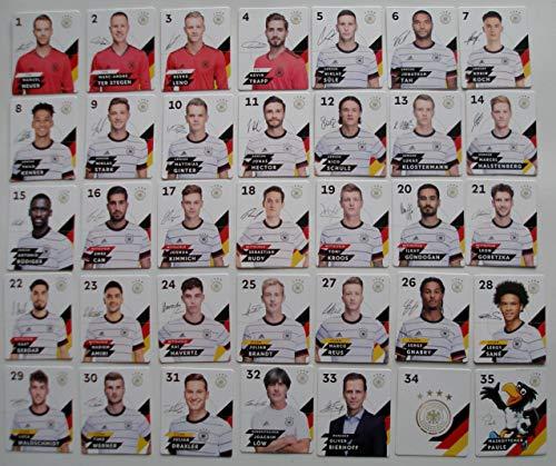 Rewe Komplettsatz EM 2020 DFB - Sammelkarten - KOMPLETT alle 35 Verschiedene Normale Karten + 1 Fußballmünze der WM 2006 - Bastian Schweinsteiger