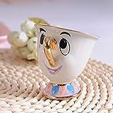 THUMBGEEK Juego de tetera y taza con diseño de mujer Potts Chip, taza de dibujos animados Cogsworth, regalo de Navidad para amigos (1 taza)