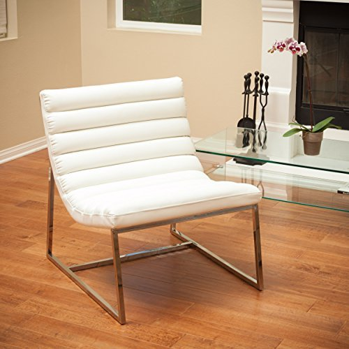 Christopher Knight Home Kingsbury White Leather Lounge Accent Chair