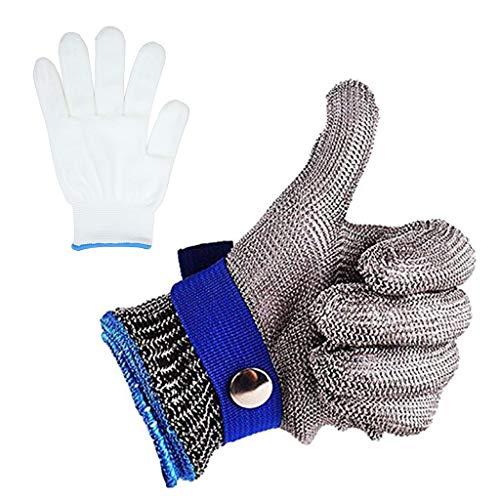 Guantes de malla de acero inoxidable resistente a los cortes y a prueba de golpes de nivel 5 de protección