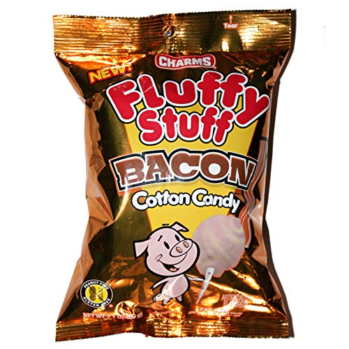 Charms (1) Bag Fluffy Stuff Cotton Candy - Bacon Flavored - Peanut, Gluten & Fat Free 2.1 oz