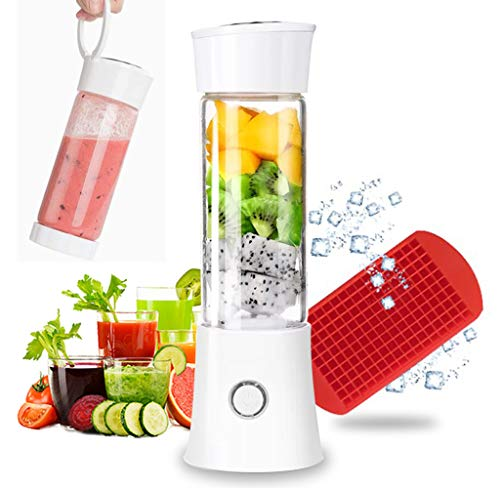 Portable Blender, Smoothie Blender with 16oz Travel Glass Cup and Lid 4000mAh Battery 7.4V Strong Power Personal Size Blender USB Rechargeable Mini Juicer Cup Travel Blender for Shakes and Smoothies with Stainless Steel 6 Blades and Ice Tray (White)