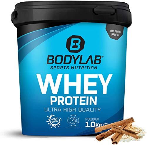 Protein-Pulver Bodylab24 Whey Protein Milchreis-Zimt 1kg / Protein-Shake für Kraftsport und Fitness / Whey-Pulver kann den Muskelaufbau unterstützen / Eiweiss-Pulver mit 80% Eiweiß / Aspartamfrei