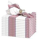 GLAMBURG Cloth Napkin 12-Pack 100% Ring Spun Cotton Dinner Napkin 18x18 with Mitered Corners and a Generous Hem, Cocktail Napkins, Wedding Dinner Napkins, Machine Washable - Red