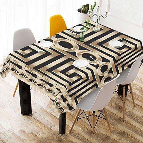 Abstrakte Manders Ornament Custom Baumwolle Leinen gedruckt Platz Fleck beständig Tischwäsche Tuch Abdeckung Tischdecke für Küche nach Hause Esszimmer Tischplatte Dekor 60x84 Zoll
