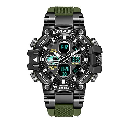 Reloj de pulsera digital, reloj de pulsera para hombre, analógico, digital, deportivo, resistente al agua, reloj digital LED, con cronómetro para hombres, verde,