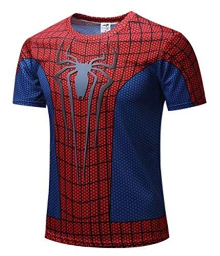 Camiseta de manga corta para niños de 3 a 14 años de superhéroe Rojo rosso 7-8 Años