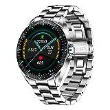 LIGE Smart Watch da uomo, fitness tracker con ossigeno nel sangue, pressione sanguigna, cardiofrequenzimetro, schermo touch da 1,3 pollici, IP67, impermeabile, per Android iOS e argento,