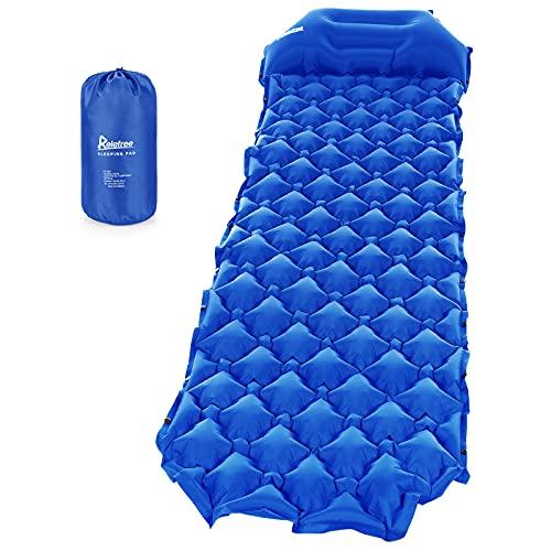 Relefree Colchoneta Camping, Colchón Hinchable Plegable Ultraligero para Acampar con La Almohada, Adecuado para Acampar y Viajar (Azul)