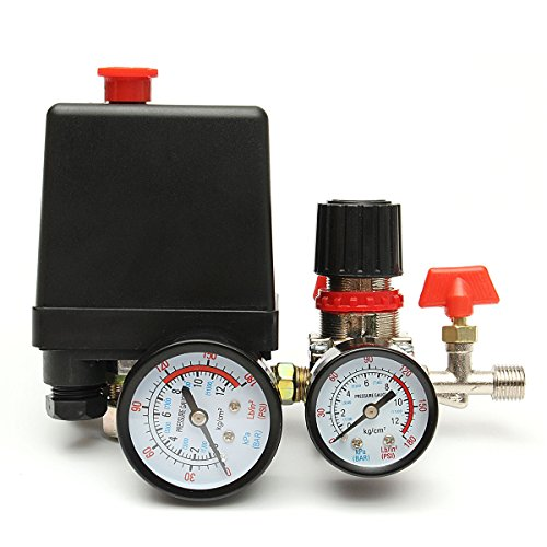 MASUNN 125Psi Compresor De Aire Válvula De Presión Interruptor De Control Manómetros De Múltiples Reguladores
