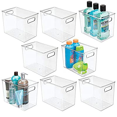 mDesign Plastic Bathroom Storage Bin Tote with Handles for Organizing Soaps, Shampoos, Conditioners, Body Wash, Serums, Oils, First Aid, Vitamins, Supplements, Hair Styling Accessories, 8 Pack - Clear