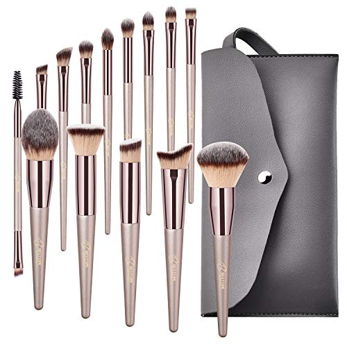 BESTOPE Makeup Brushes Conical Handle Professional Premium Synthetic Makeup Brush Set Kit With Case Bag for Blending Foundation Powder Blush Eyeshadow14 Count