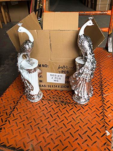 Increíble regalo plata cerámica pavo real par estatuas estatuas esculturas decoraciones de cerámica
