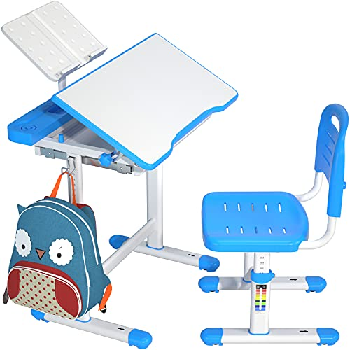 ErGear Kids Desk and Chair Set with Large Storage Drawer, Height Adjustable Ergonomic Children Study Writing Table with Tilt Desktop for Boys Girls Homeschooling