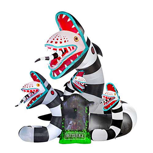 Wenore Inflatable Halloween Snake for Decoration/Beetlejuice Sandworm with Lighting for Event - Toys