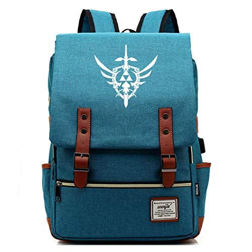 WANHONGYUE Spiel The Legend of Zelda Backpack Vintage Schulrucksack Schulranzen Studententasche 15,6 Zoll Laptop Rucksack mit USB-Ladeanschluss Deep Sky Blue / 4