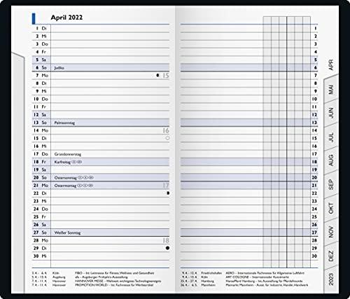 BRUNNEN 1075328042 Taschenkalender/Monats-Sichtkalender Modell 753, 2 Seiten = 1 Monat, 8,7 x 15,3 cm, Kunststoff-Einband petrol, Kalendarium 2022