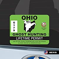Ohio Ghost Hunting Permit オハイオ アメリカ お化け 捕獲許可証 ステッカー 防水 車用 スーツケース用 Paranormal Hunter OH