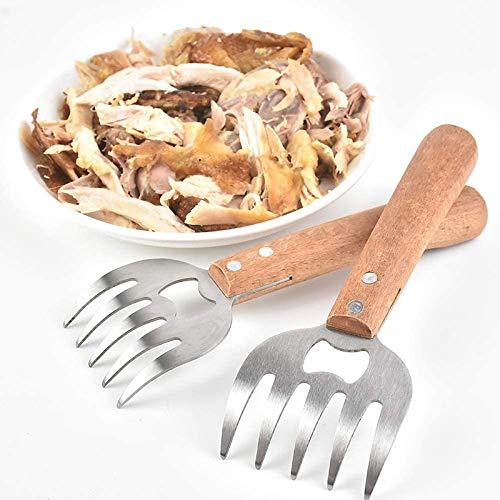 Kacoco Pulled Pork Krallen Fleisch Gabeln Meat Claws BBQ Flaschenöffner Grillguthalter Mit Langer Holzgriff Reißen von Fleisch, Hühnchen