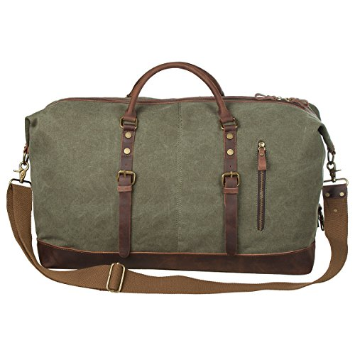 S-ZONE Oversized Canvas Genuine Leather Trim Travel Tote Duffel Shoulder Weekend Bag Weekender Overnight Carryon Hand Bag