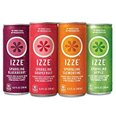 IZZE Sparkling Juices include 70 percent fruit juice with a splash of sparkling water No added sugar or preservatives The perfect feel good drink to brighten up your day Variety Pack includes (6) 8.4 ounces cans of Sparkling Blackberry, (6) 8.4 ounce...