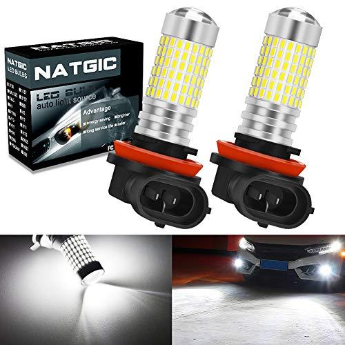 NATGIC H11 H9 H8 Ampoules d'antibrouillard à LED Blanc xénon 3000LM 3014 SMD 144-EX avec projecteur pour Objectif pour antibrouillard d'extérieur, antibrouillard, 12-24V (Lot de 2)