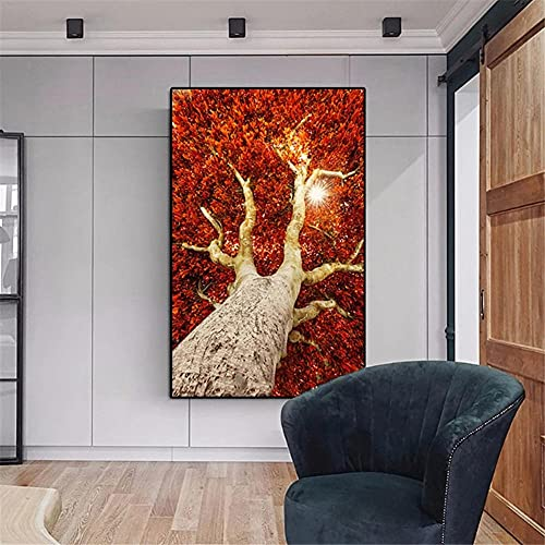 5D DIY Pintura de Diamante de Kits Paisaje de árbol rojo Completo Crystal Rhinestone Adulto Sniño de Punto de Cruz Embroidery Art Decoración de la Pared del Hogar Diamond Painting Square Drill 60x90cm