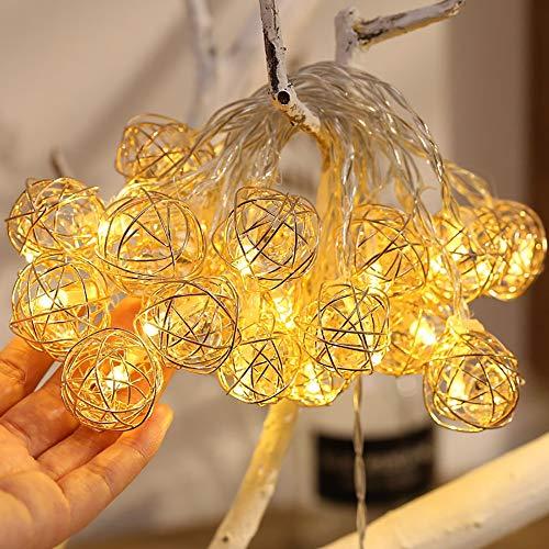 Forma di Diamante Openwork Luci della Stringa, 5M / 20 LED del Ferro Diamante Nordic Light USB Stile Industriale E Batteria Integrata per/Giardino/Partito di Festa al Coperto,Battery,5M