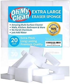 20 Pack  Extra Large Eraser Sponge - Extra Thick Long Lasting Premium Melamine Sponges in Bulk - Multi Surface Power Scrubber Foam Cleaning Pads - Bathtub Floor Baseboard Bathroom Wall Cleaner