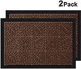 Amagabeli 2 Pack Large Outdoor Door Mats Rubber Shoes Scraper 24' x 36' for Front Door Entrance Outside Doormat Patio Rug Dirt Debris Mud Trapper Waterproof Out Mat Low Profile Washable Carpet Brown