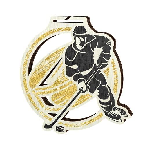 Trophy Monster Umweltfreundliche Eishockey-Medaille aus Holz in 3 großen Größen   kostenloses Medaillenband   aus nachhaltig bedrucktem, 8 mm dickem Birken-Sperrholz   Gold, Silber oder Bronze – 70 mm