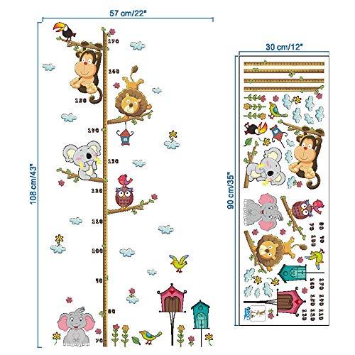 Zhzhqm DIY Autocollant Mural Children Height Growth Chart Mesurer Sticker Mural Enfants Chambre Animal Decal Enfants Bande Dessinée Hauteur Pâte Murale