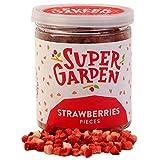 Supergarden fresa liofilizada en trocitos - Producto 100% puro y natural - Apto para veganos - Sin azúcares, aditivos artificiales ni conservantes añadidos - Sin gluten - No OMG