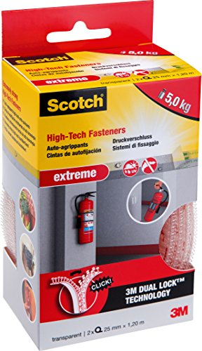 Scotch Sistema di Fissaggio Trasparente, Nastrodi Montaggio a Tenuta Forte fino a 5 Kg, Adesivo Invisibile per Fissare a Muro o a Terra Senza Chiodi, 2 Rotoli da 25 mm x 1.20 m