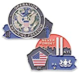 Never Forget 9-11 Challenge Coin - OEF Operation Enduring Freedom Challenge Coin - Amazing 9/11 US Military Coins - Designed by Military Veterans