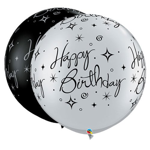 Qualatex 2 Ballon géant Happy Birthday noir et argent Taille 90 cm (3')