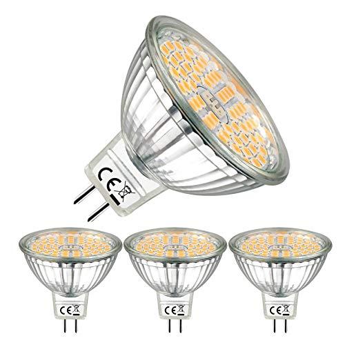 EACLL Bombillas LED GU5.3 2700K Blanco Cálido Sin Parpadeo MR16 12V 5W 500 Lúmenes Equivalente 50W Halógena. 120 ° Luz Blanca Cálida Lámpara Reflectoras Spotlight, Pack de 3