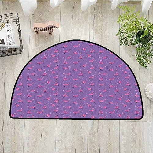 Flamingo Bathroom Semi-circular Carpet,Dotted Purple Background with Cute Pink Exotic Birds Kids Girls Design Printing Carpet,latest technology Rug,W35.5 x R19.7 Inches Violet Pink Pale Blue