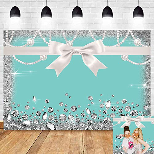 8x6ft Breakfast Blue Bow-Knot Birthday Party Photography Backdrop Sweet 16 Turquoise Diamond Bow Glitter Photo Background Vinyl Bridal Shower Wedding Party Banner Supplies Backdrops Studio Props