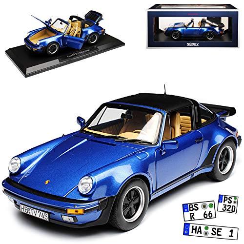 Norev Porsche 911 Turbo Targa Blau G-Modell 1973-1989 1/18 Modell Auto mit individiuellem Wunschkennzeichen