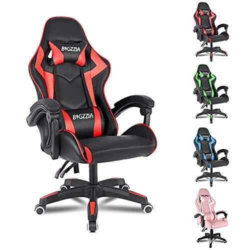 bigzzia, Gaming-Stuhl, Bürostuhl, Schreibtischstuhl, Drehstuhl, Schwerlaststuhl, ergonomisches Design mit Kissen und verstellbarer Rückenlehne