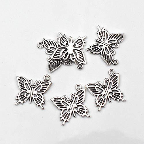 WANM 8Pcs Charms Hollow Butterfly 20 * 19Mm Antique Tibetan Silver Pendant Finding Accessories Diy Vintage Choker Necklace Handmade Alloy Pendant
