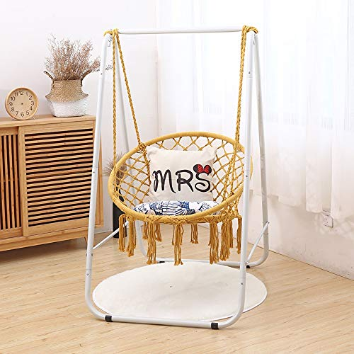 Q-L Indoor Woonkamer Hangstoel Multifunctionele Portable In Hoogte Verstelbare Kinderen Wieg Katoenen Touw Swing (Color : Yellow)