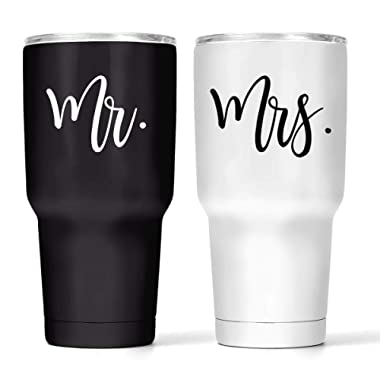 Mr & Mrs Double Wall Steel Tumbler Set – Black and White Vacuum Insulated Wine Tumblers – 30Oz Black & White His and Hers Wine Cups – Temperature Control & BPA-Free Lid – Bride Groom Gift