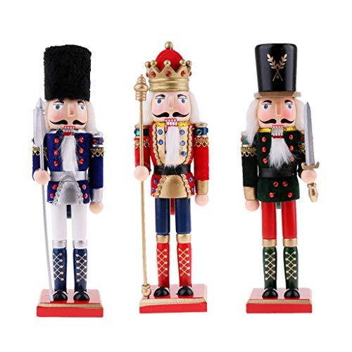 Harilla 3pcs Artesanía de Madera Cascanueces Rey Y Solider Muñeca Marioneta Decoración de Mesa